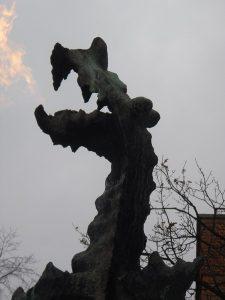Krakow's famous fire breathing dragon sculpture