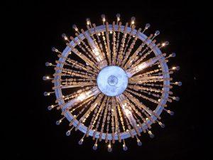 Krakow salt mines: chandelier overhead in church