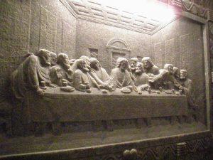 Krakow salt mines: wall carving, last supper
