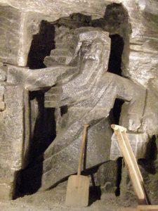 Krakow salt mines: sculpture of miner